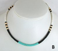 Mixed Stone heishi necklace 16 inch