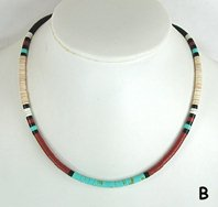 Mixed Stone heishi necklace 18 inch