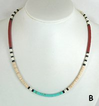 Mixed Stone heishi necklace 21 1/2 inch
