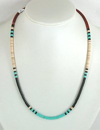 Mixed Stone heishi necklace 23 inch