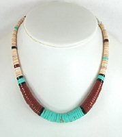 Mixed Stone heishi necklace 16 1/2 inch