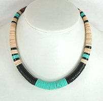 Mixed Stone heishi necklace 17 inch