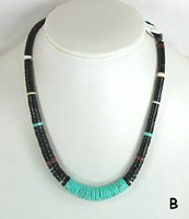 Mixed Stone heishi necklace 19 inch