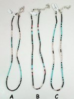 Mixed Stone heishi necklace 17 to 19 inch