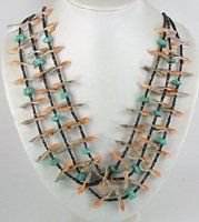 Authentic Native American Indian Santo Domingo Olive Shell Bird Necklace by James Coriz