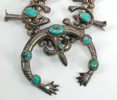 Vintage sterling silver and turquoise squash blossom naja necklace 25 inch