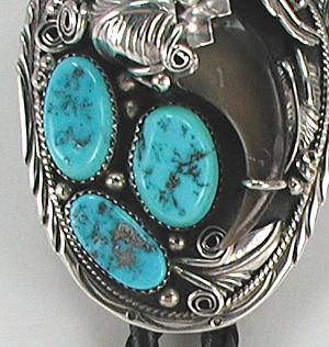 Navajo Bear Claw Turquoise Bolo String Tie Vintage Sterling Silver