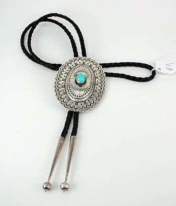 Navajo Concha Bolo String Tie Vintage Silver Gerlinda Quam