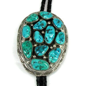 Native American Turquoise Cluster Bolo String Tie Vintage