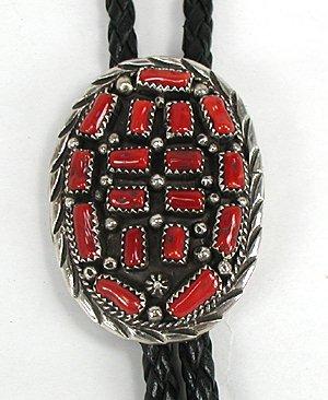 Navajo Coral Cluster Bolo String Tie Vintage Sterling Silver