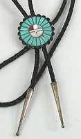 Vintage NOS sterling silver Inlay Sunface bolo tie