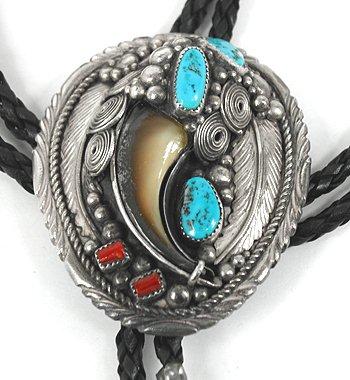 Vintage Navajo Bear Claw Bolo Tie