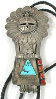 vintage stamped sterling silver and turquoise bolo tie