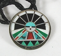 Vintage inlay turquoise coral sterling silver Sunface bolo tie by Zuni Rickie and Lucy Vacit