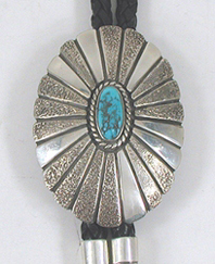 Vintage sterling silver Silverdust and Turquoise bolo tie