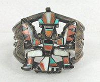 Vintage Sterling Silver and Inlay Knifewing Bracelet size 6 5/8
