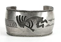 Authentic Native American Vintage Sterling Silver Overlay Kokopelli Bracelet size 6 1/2 by Navajo Albert J. Platero