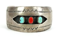 Vintage Sterling Silver, Turquoise and Coral Shadowbox Bracelet size 6 5/8