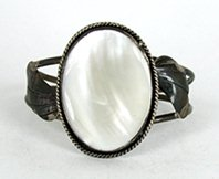 Vintage Sterling Silver and Mother of Pearl  Bracelet 6 3/8 inch