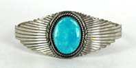 Vintage Sterling Silver and Turquoise Carinated Bracelet 6 1/4 inch