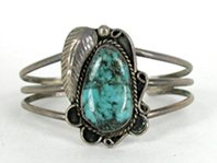 Vintage Sterling Silver and Turquoise Carinated Bracelet 6 1/2 inch