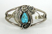 Authentic Native American Vintage Sterling Silver and Turquoise  Bracelet 6 1/2 inch by Navajo Delbert Clark
