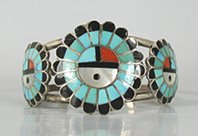 Sterling Silver God's Eye Inlay Bracelet 6 1/4 inch