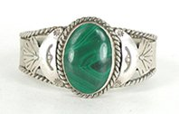 Sterling Silver and Malachite  Bracelet 6 1/4 inch