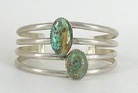 Vintage Sterling Silver and Turquoise 4-wire Bracelet 6 3/4 inch
