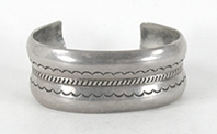 Vintage Sterling Silver wide cuff bracelet 7 inch by Navajo William Secatero