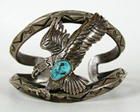 Vintage Sterling Silver and  Turquoise Eagle Bracelet 7 1/4 inch