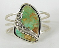 Vintage Royston Turquoise sterling silver  Bracelet 7 inch by Navajo artist Lester Ortiz