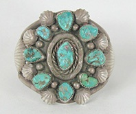 Vintage Turquoise sterling silver  Bracelet 6 3/8 inch by Navajo artist E. King