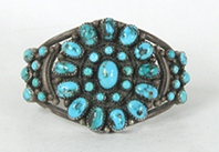 Vintage Turquoise sterling silver  Bracelet 6 3/8 inch by Navajo artist Lonnie Miller