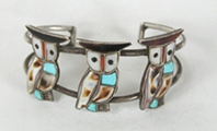 Vintage Sterling Silver and stone Inlay Owls Bracelet 6 inch