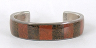 Vintage Sterling Silver and fossilized dinosaur bone Inlay Bracelet 7 inch