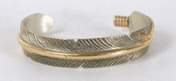 Vintage Navajo Sterling Silver and gold feather Bracelet 6 3/4 inch by Chris Charley