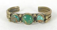 Vintage brass and Turquoise Bracelet 6 3/8  inch