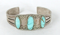 Vintage Sterling Silver and Turquoise Bracelet 6 1/2  inch