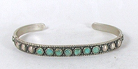 Vintage Sterling Silver 7-stone turquoise Bracelet 6 5/8 inch