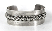 Vintage Sterling Silver cuff with rope twists bracelet 6 3/4  inch