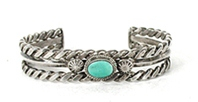 Vintage Sterling Silver bracelet with flat twists and a clear turquoise cabochon 6 inch