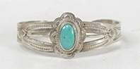 Vintage Fred Harvey era Sterling Silver Turquoise Pretty Girl Bracelet 5 3/4  inch