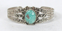 Vintage Fred Harvey era Sterling Silver Turquoise Pretty Girl Bracelet 6 1/4  inch