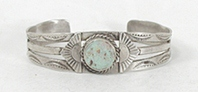 Vintage Fred Harvey era Sterling Silver Turquoise Pretty Girl Bracelet 6 3/8  inch