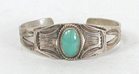 Vintage Fred Harvey era Sterling Silver Turquoise Pretty Girl Bracelet 6  inch