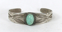 Vintage Fred Harvey era Sterling Silver Turquoise Pretty Girl Bracelet 6 5/8 inch