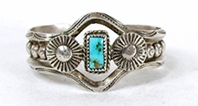 Vintage Fred Harvey era Sterling Silver Turquoise Pretty Girl Bracelet 5 5/8  inch