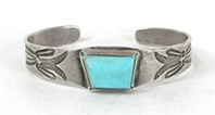 Vintage Fred Harvey era Sterling Silver Turquoise Pretty Girl Bracelet 6 3/4 inch