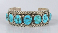 Vintage NOS Sterling Silver Turquoise Bracelet 6 7/8  inch by Navajo Tommy Lowe